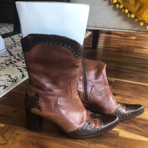 Soft leather mid calf boot